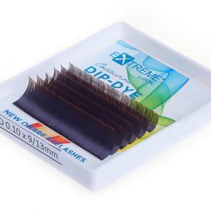 Ресницы Extreme Look Dip-Dye (С цветным кончиком) изгиб D (9-13) black+brown, 6 линий