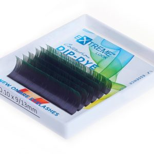Ресницы Extreme Look Dip-Dye (С цветным кончиком) изгиб D (9-13) black+green, 6 линий