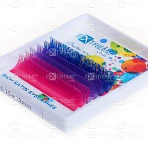 Ресницы Pure Color (несколько цветов в палитре) C 0,10 12 mm (blue+violet+pink) Extreme Look (6 линий)
