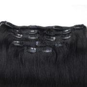 Натуральные волосы, Насыщенно чёрного цвета, на заколках, 7 прядей, Прямые, 50,8 см (20 дюймов), 120 гр — 3