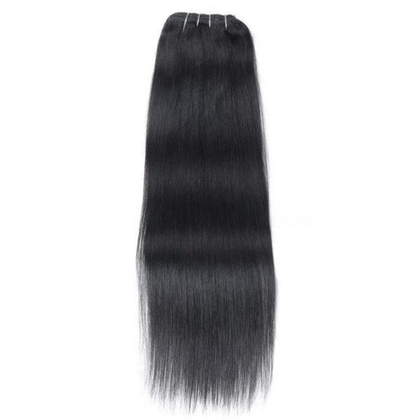 Натуральные волосы, Насыщенно чёрного цвета, на заколках, 7 прядей, Прямые, 50,8 см (20 дюймов), 120 гр