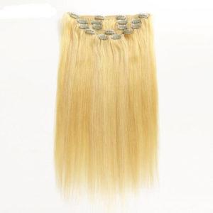 Натуральные волосы на заколках, Натуральный Блонд, Прямые, 7 прядей, 50,8 см (20 дюймов), 120 гр