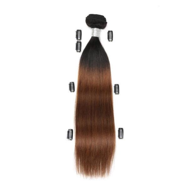 Натуральные волосы Ombré Чёрно-золотистые на трессах, Прямые, 50,8 см (20 дюймов), 100 г