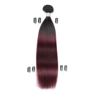 Натуральные волосы Ombré чёрно-бордовые, Прямые, 50 см, 100 гр