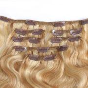 Натуральные мелированные волосы, Светло-русые, На заколках, Волнистые, 7 прядей, 120 гр — 3
