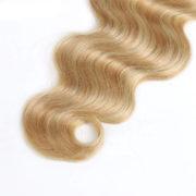 Натуральные мелированные волосы, Светло-русые, На заколках, Волнистые, 7 прядей, 120 гр — 4