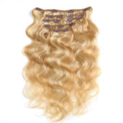 Натуральные мелированные волосы, Светло-русые, На заколках, Волнистые, 7 прядей, 120 гр — 5
