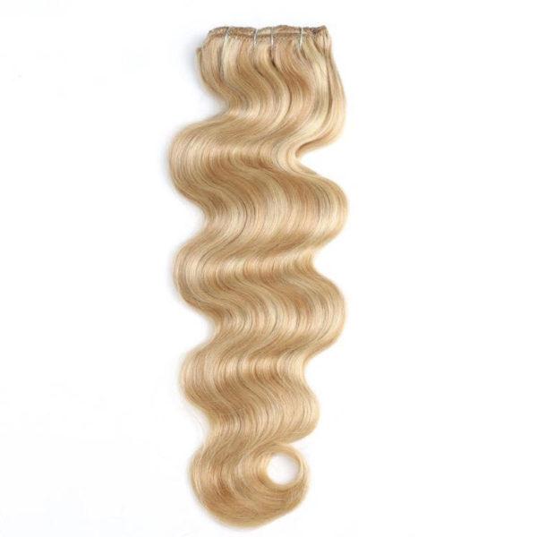 Натуральные мелированные волосы, Светло-русые, На заколках, Волнистые, 7 прядей, 120 гр