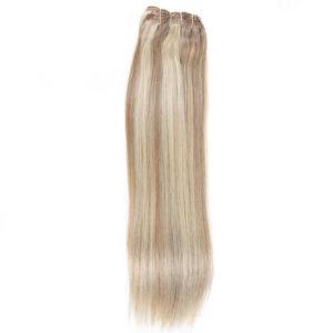 Натуральные мелированные волосы на заколках, Натуральный каштан + Блонд, Прямые, 7 прядей, 50,8 см (20 дюймов), 120 гр
