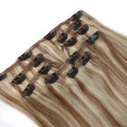 Натуральные мелированные волосы на заколках, Натуральный каштан + Блонд, Прямые, 7 прядей, 50,8 см (20 дюймов), 120 гр — 4