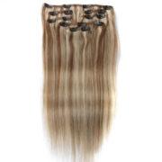 Натуральные мелированные волосы на заколках, Натуральный каштан + Блонд, Прямые, 7 прядей, 50,8 см (20 дюймов), 120 гр — 5