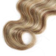 Натуральные мелированные волосы на заколках, Натуральный каштан + блонд, 7 прядей, 55,88 см (22 дюймов), 120 гр