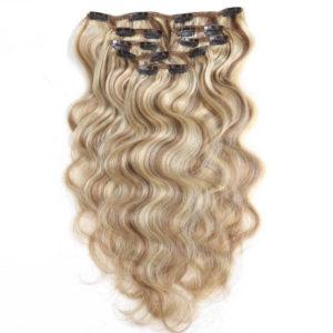 Натуральные мелированные волосы на заколках, Натуральный каштан + блонд, 7 прядей, 55,88 см (22 дюймов), 120 гр - 2