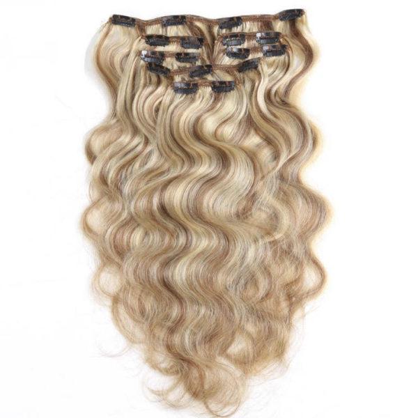 Натуральные мелированные волосы на заколках, Натуральный каштан + блонд, 7 прядей, 55,88 см (22 дюймов), 120 гр — 2