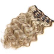 Натуральные мелированные волосы на заколках, Натуральный каштан + блонд, 7 прядей, 55,88 см (22 дюймов), 120 гр — 3