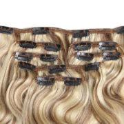 Натуральные мелированные волосы на заколках, Натуральный каштан + блонд, 7 прядей, 55,88 см (22 дюймов), 120 гр — 4