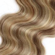 Натуральные мелированные волосы на заколках, Натуральный каштан + блонд, 7 прядей, 55,88 см (22 дюймов), 120 гр — 5