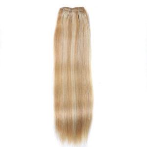 Натуральные мелированные волосы на заколках, Светло-русые, Прямые, 7 прядей, 50,8 см (20 дюймов), 120 гр