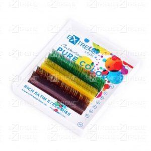 Ресницы Pure Color (несколько цветов в палитре) C 0,15 12 mm (green+yellow+brown) Extreme Look (6 линий)