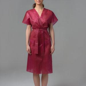 Халат-кимоно без рукавов спанбонд Бордовый, 1 шт.
