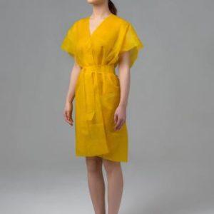 Халат-кимоно без рукавов спанбонд Желтый