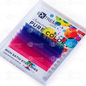Ресницы Pure Color (несколько цветов в палитре) C 0,15 12 mm (blue+violett+pink) Extreme Look (6 линий)