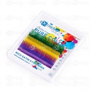 Ресницы Pure Color (несколько цветов в палитре) C 0,15 12 mm (green+yellow+violet) Extreme Look (6 линий) 1