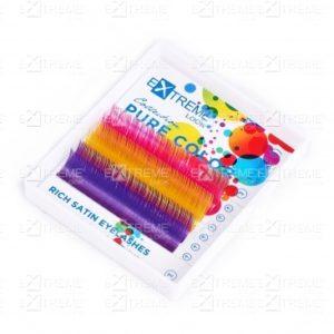 Ресницы Pure Color (несколько цветов в палитре) C 0,15 12 mm (pink+yellow+violet) Extreme Look (6 линий) 1