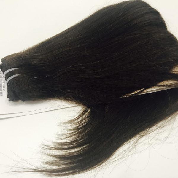Натуральные волосы темно-коричневого цвета, Прямые, 100 гр, 50 см, 7 прядей 1