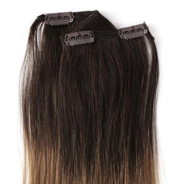Натуральные волосы ombré (темно коричневые — темно русые), 100 гр, 50 см, 7 прядей 1