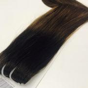 Натуральные волосы ombré (темно коричневые — темно русые), 100 гр, 50 см, 7 прядей 3