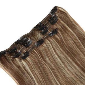 Натуральные каштановые мелированные волосы на заколках, Прямые, 120 гр, 50 см, 7 прядей 1