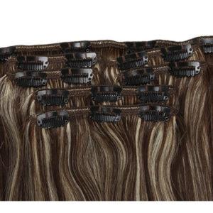 Натуральные темно-каштановые мелированные волосы на заколках, Прямые, 120 гр, 50 см, 7 прядей 1