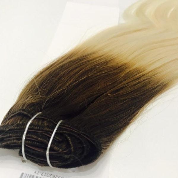 Натуральные человеческие волосы ombré (каштан-блонд), Прямые, 100гр, 50 см, 7 прядей 1