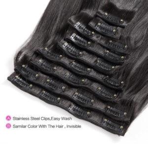 Натуральные чёрные волосы, Прямые, 55 см, 140 гр, 10 прядей 1