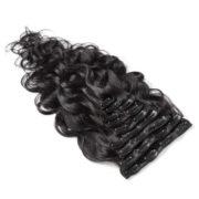 Натуральные чёрные волосы на заколках, Волнистые, 60 см, 140гр, 10 прядей 3