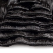 Натуральные чёрные волосы на заколках, Волнистые, 60 см, 140гр, 10 прядей 4