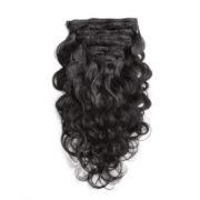 Натуральные чёрные волосы на заколках, Волнистые, 60 см, 140гр, 10 пряде 2