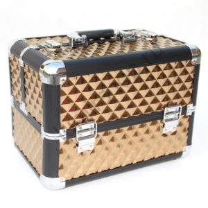 Кейс-чемодан BeautyBox для мастеров индустрии красоты (Золотой с наклонными квадратами)