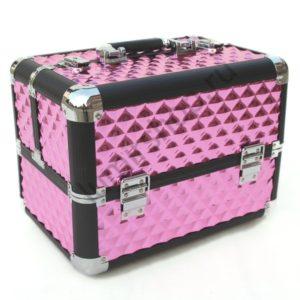 Кейс-чемодан BeautyBox для мастеров индустрии красоты (Фуксия с наклонными квадратами)