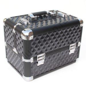 Кейс-чемодан BeautyBox для мастеров индустрии красоты (Черный с наклонными квадратами)