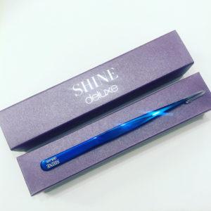 Пинцет SHINE прямой slim (синий, японская сталь)