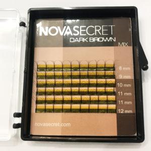 Ресницы Тёмно-коричневые 4D-тип Mix (8-12 мм) NovaSecret 6 линий