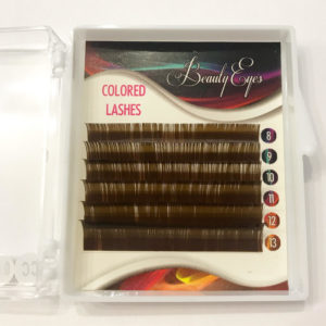 MIX ресниц цветных Коричневые Brown Beauty Eyes 8-13 мм (6 лент)