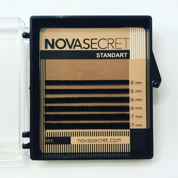 mix Ресницы Чёрные Novasecret Standart (5-7 мм) 6 линий