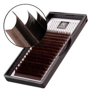 Тёмно-коричневые ресницы «Горький шоколад» BARBARA Микс, изгиб L+