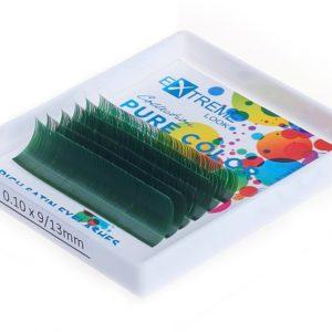 Ресницы Pure Color (однотонный цветной микс) 9-13 мм Green (Зелёные) Extreme Look (6 линий)