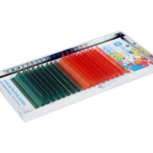 Ресницы Extreme Look Двухцветные (Золотисто-красные + Зелено-бронзовые) MIX D 0,07 (8-14), 18 линий
