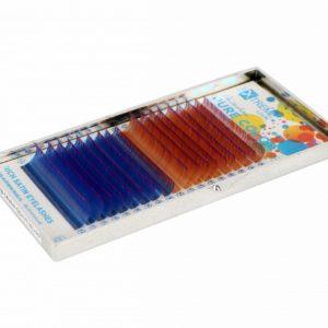 Ресницы Extreme Look Двухцветные (Золотисто-фиолетовые + Сине-пурпурные) MIX D 0,07 (8-14), 18 линий