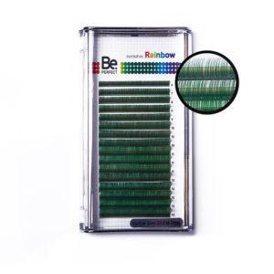 Цветные ресницы Be Perfect Rainbow Green MIX, 16 линий 1